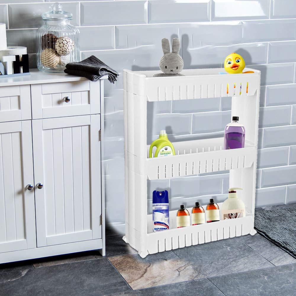 CapsA 3-Tier Mobile Shelf Bathroom Kitchen Storage