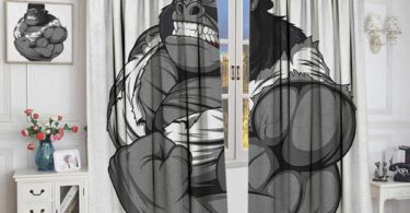 Cartoon Window Curtain Fabric Image of Big Gorilla Like as Professional Athlete Bodybuilding