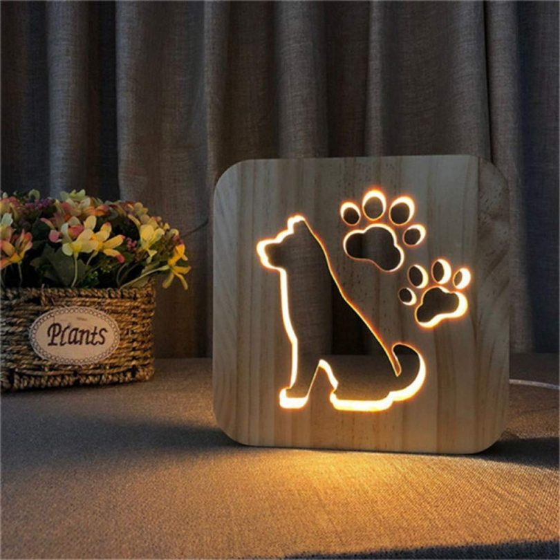 HIOJDWA Night light3D Dog Paw Wooden Led Lamp Kids