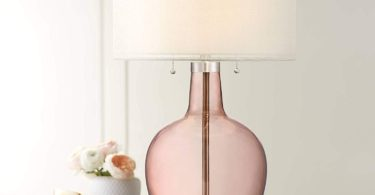 Possini Euro Natalie Rose Glass Gourd Table Lamp