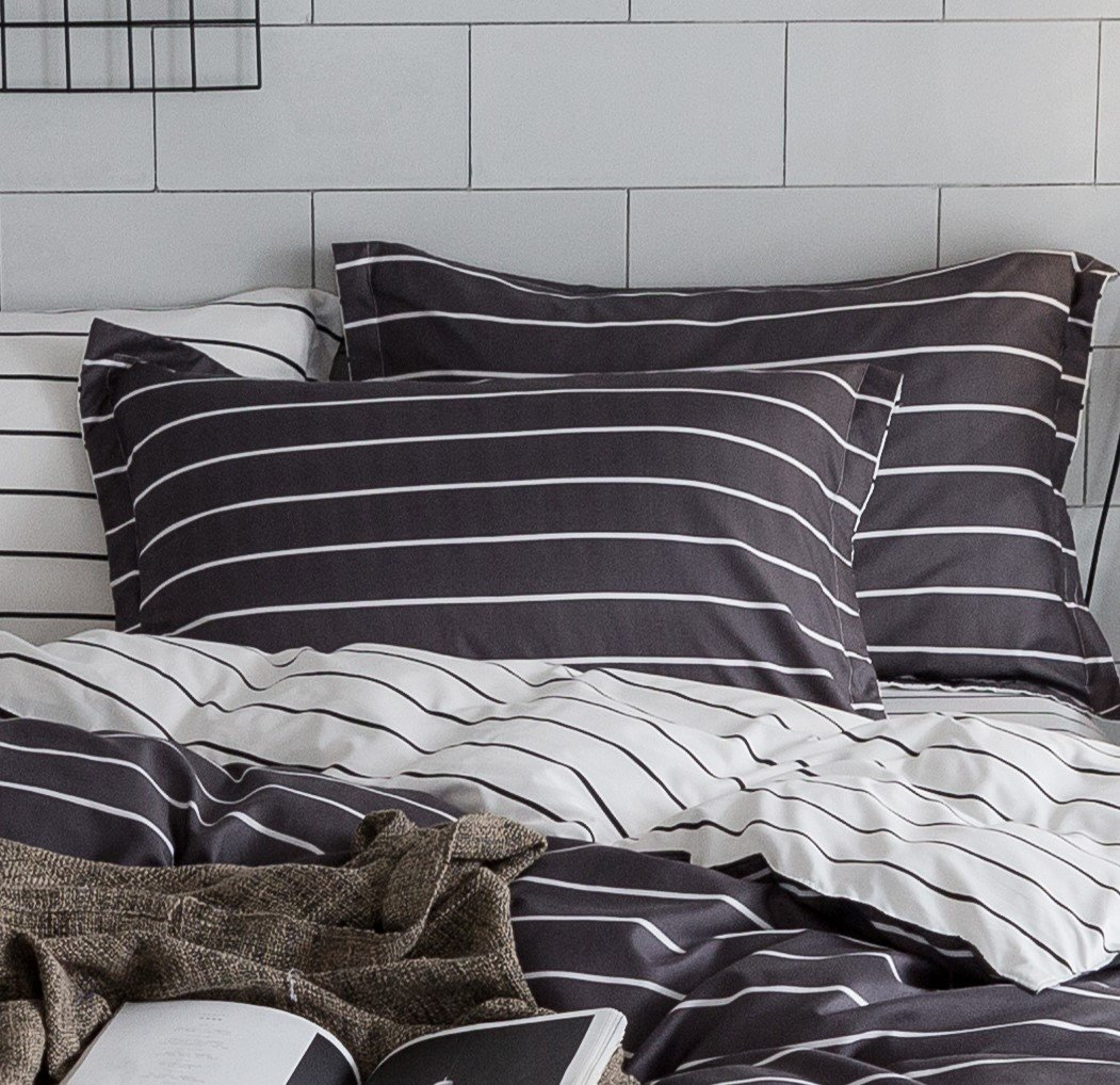 ZHIMIAN Bedding Reversible 3 Piece Striped Print Duvet Cover