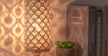 HAITRAL Gold Crystal Table Lamp