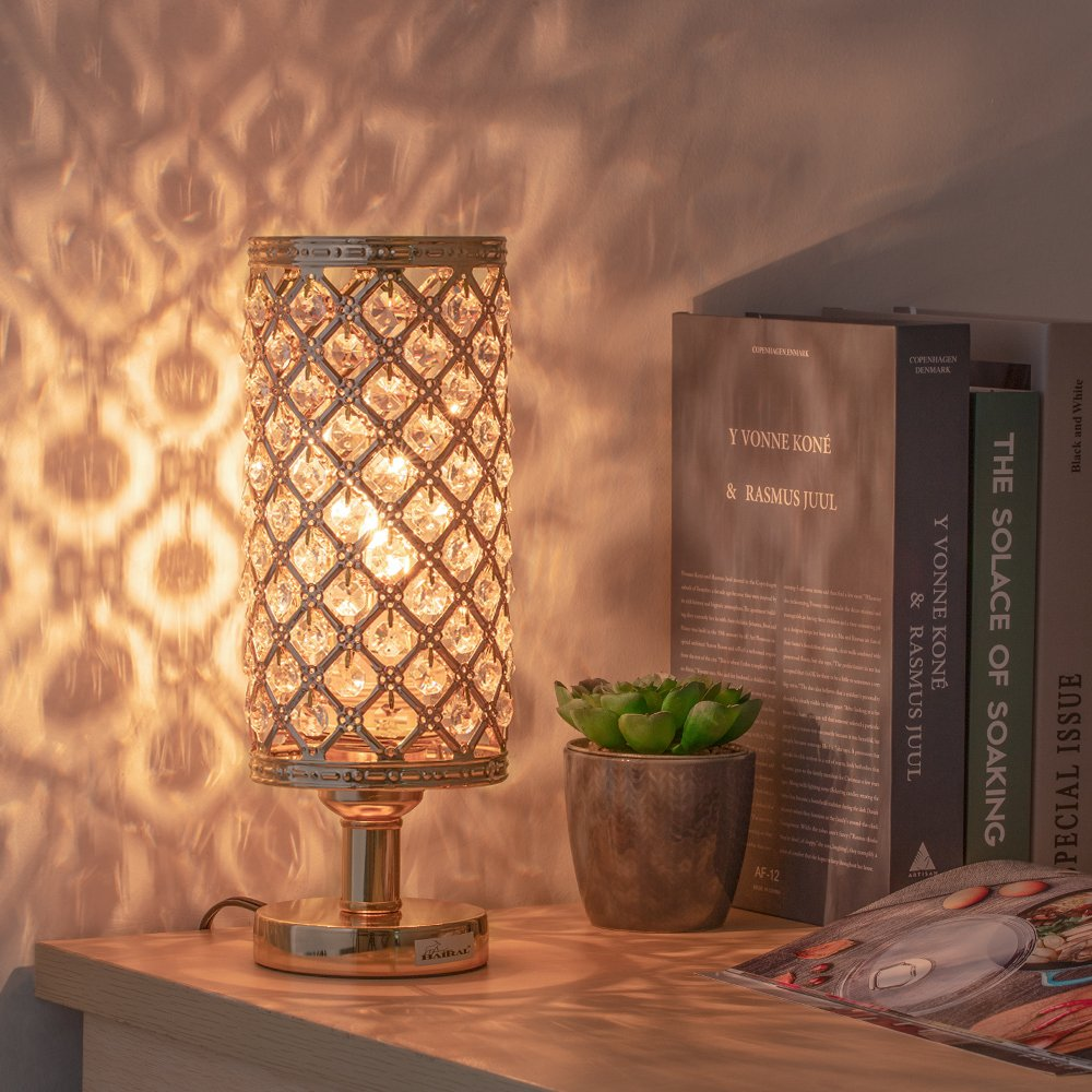 HAITRAL Gold Crystal Table Lamp