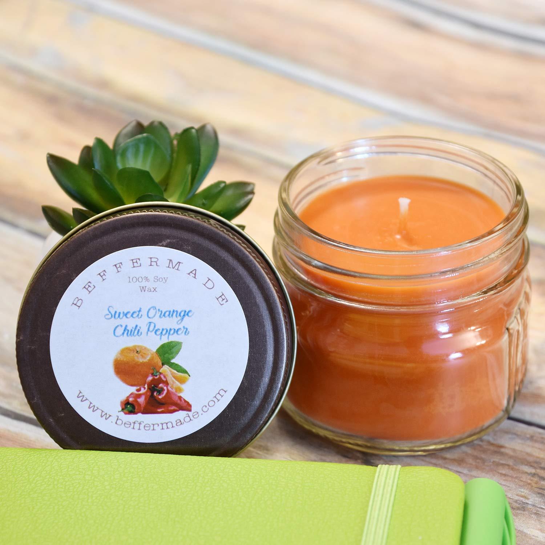 Sweet Orange Chili Pepper 4 oz Soy Mason Jar Candle