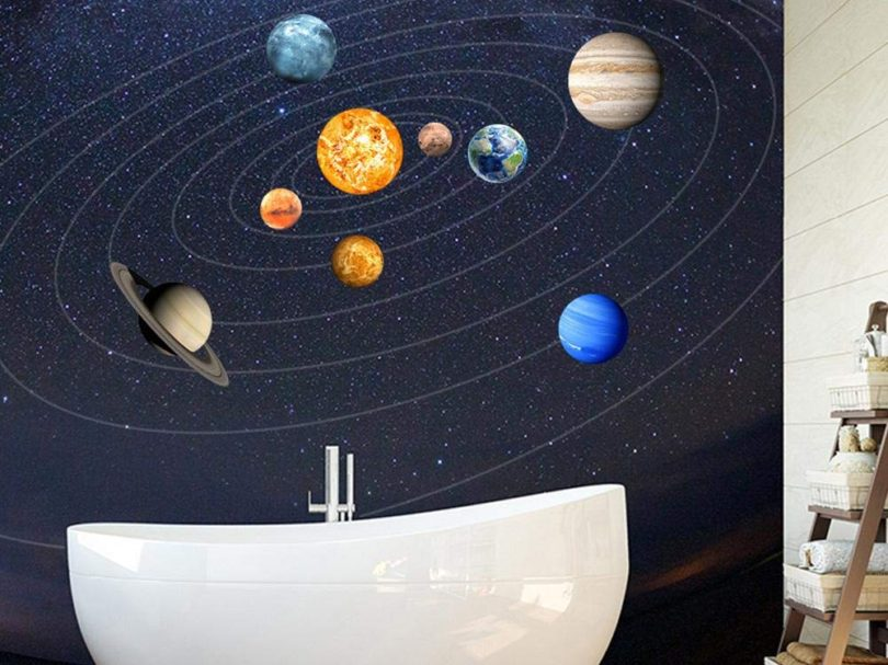 Luminous Wall Sticker/Nine Planets Solar System Pattern Wall Sticker
