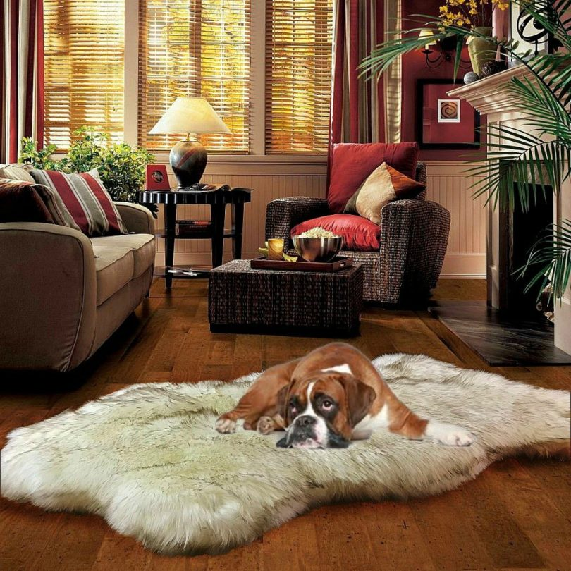 Fur Accents Thick Luxury Fur Throw Rug