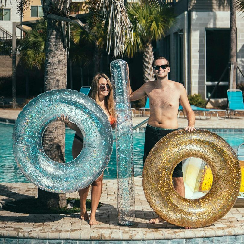 Gold Glitter 48″ GIANT Pool Tube
