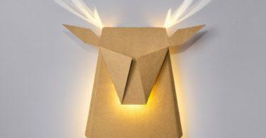 Cardboard Deer Head LED Light Fixture by Popup Lighting