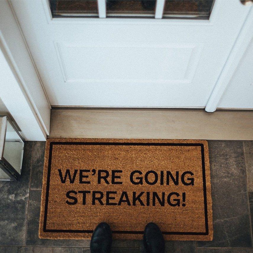 We're Going Streaking! Brown Coir Doormat