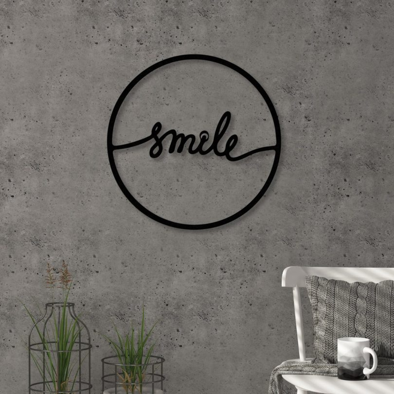 Smile Modern Metal Wall Art
