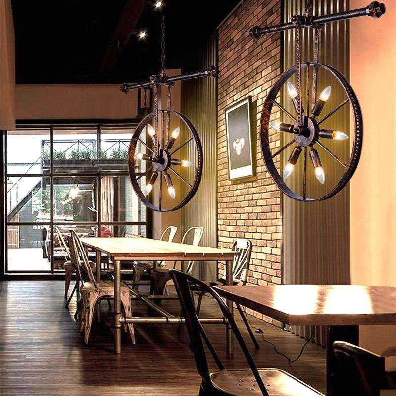 Luxury Wheel Loft Style Vintage Hanging Light Lamps