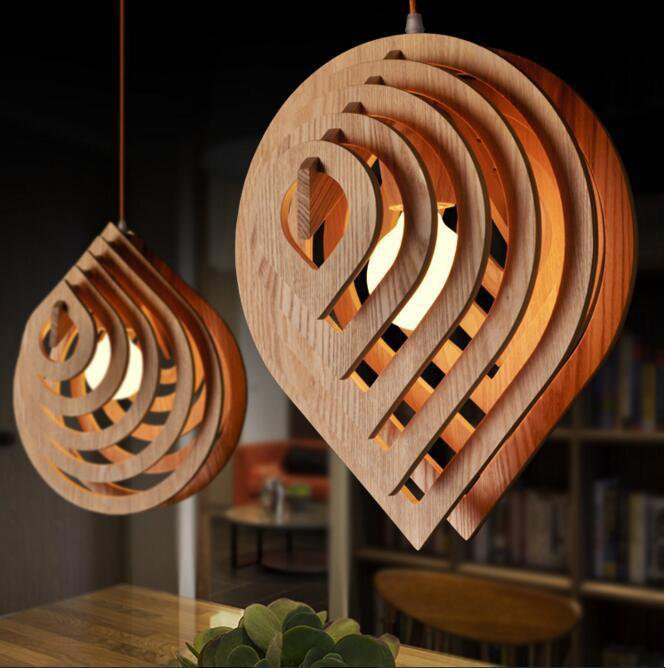 Wooden Water Drop Shaped Pendant Light
