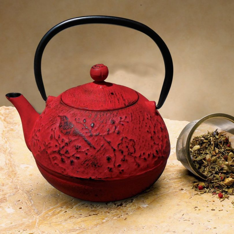 Red Cast Iron Suzume Teapot