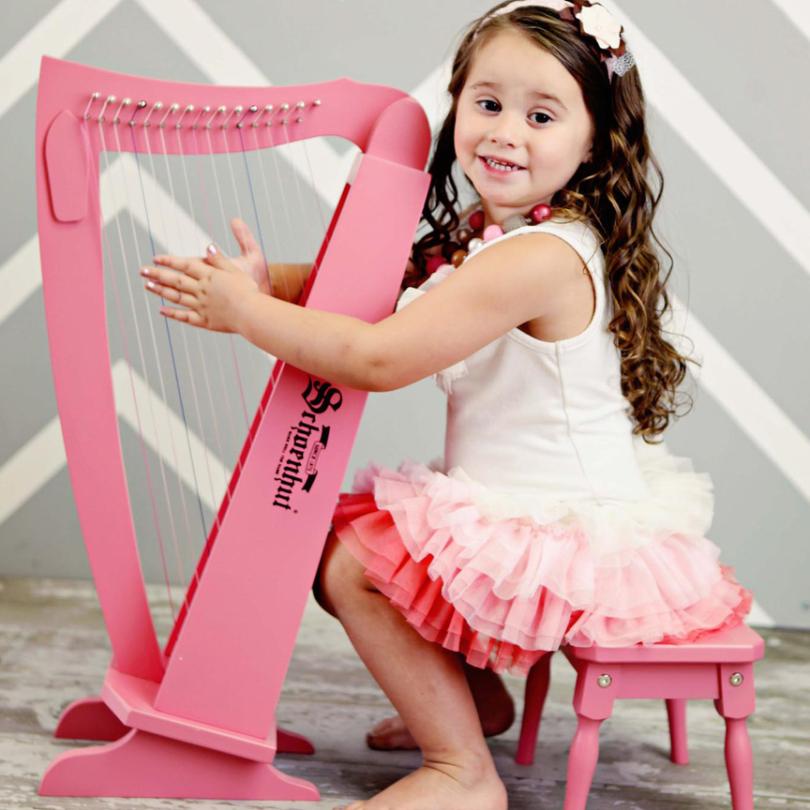 Schoenhut 15-String Harp w/ Bench Pink