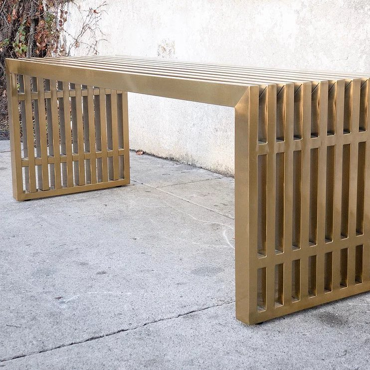 Medium Brass Slat Bench