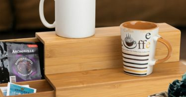 Bamboo K-Cup and Tea Bags Organizer with Side Drawer