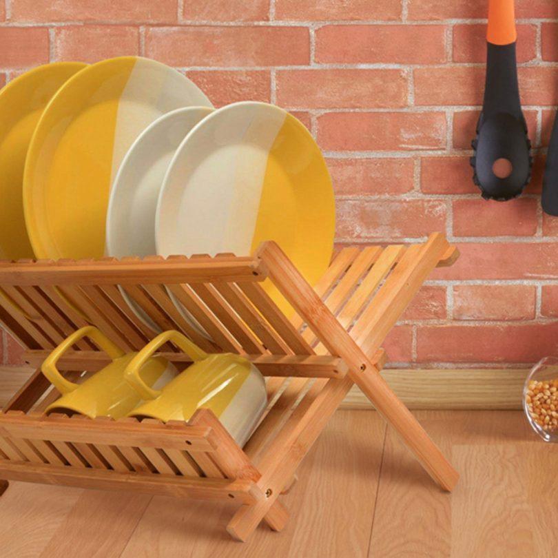 Eco-friendly Folding Bamboo Dish Rack
