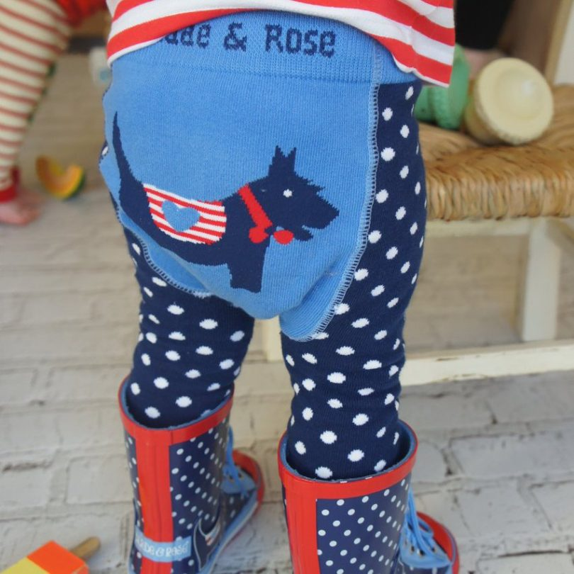 Scottie Dog Polka Dot Leggings and Heart Stripe Top Set