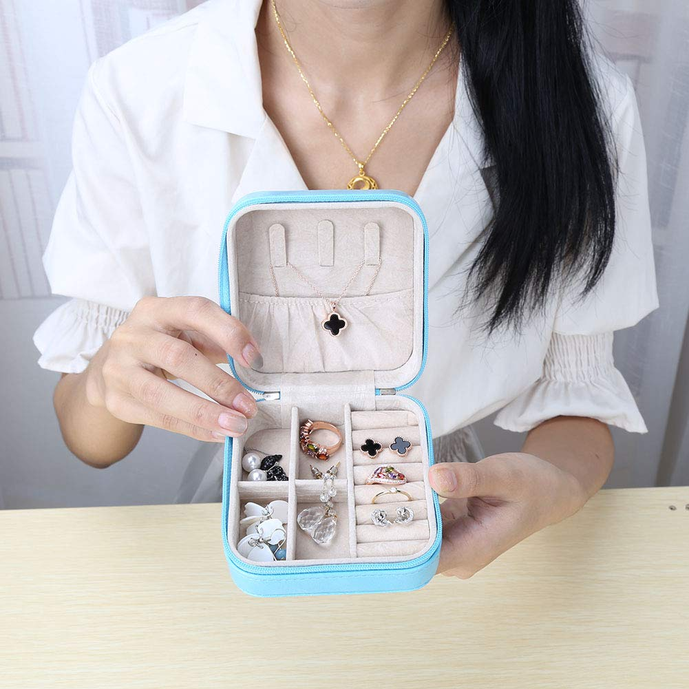 KINGFOM Small Portable Jewelry Display Organizer Box Travel Accessories Jewelry Storage Case Rings Earrings Necklace