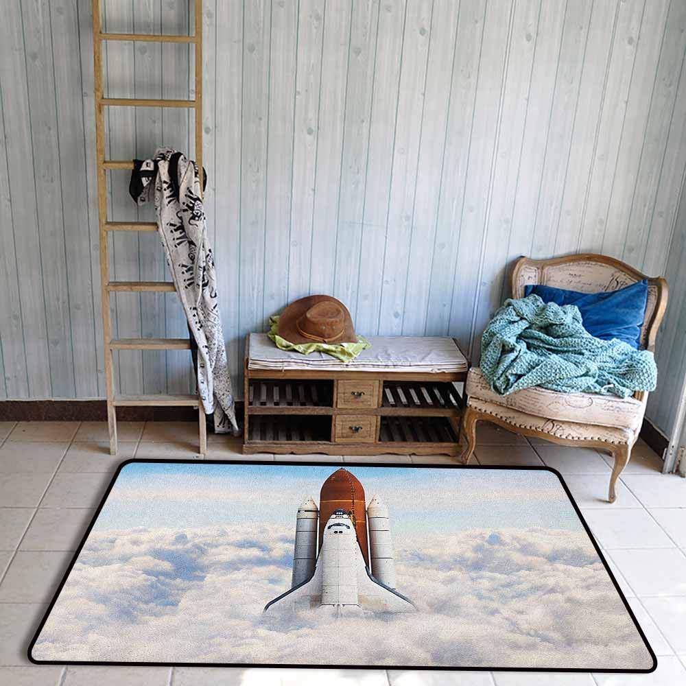 Custom Rug, Outer Space Rocket Taking Off on Mission Spaceman Planet