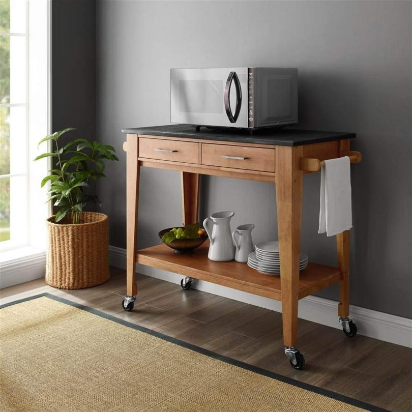 Linon Kitchen Cart in Honey