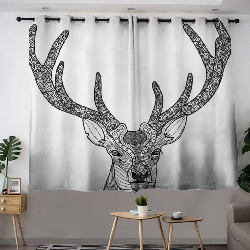 Bohogift Antlers DecorBlackout curtain