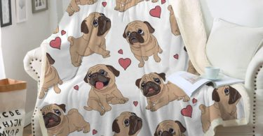 Sleepwish Pug Fleece Blanket Pet Blanket Dog Reversible Blanket