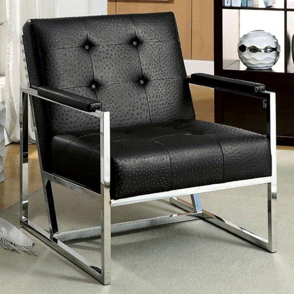 Furniture of America Bindy Ostrich Leatherette Accent Chair in Black