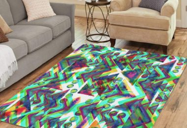 Semtomn Area Rug 2′ X 3′ Geometric Pattern Watercolor Neon Green on White Collage Geometry Home Decor Collection Floor Rugs Carpet