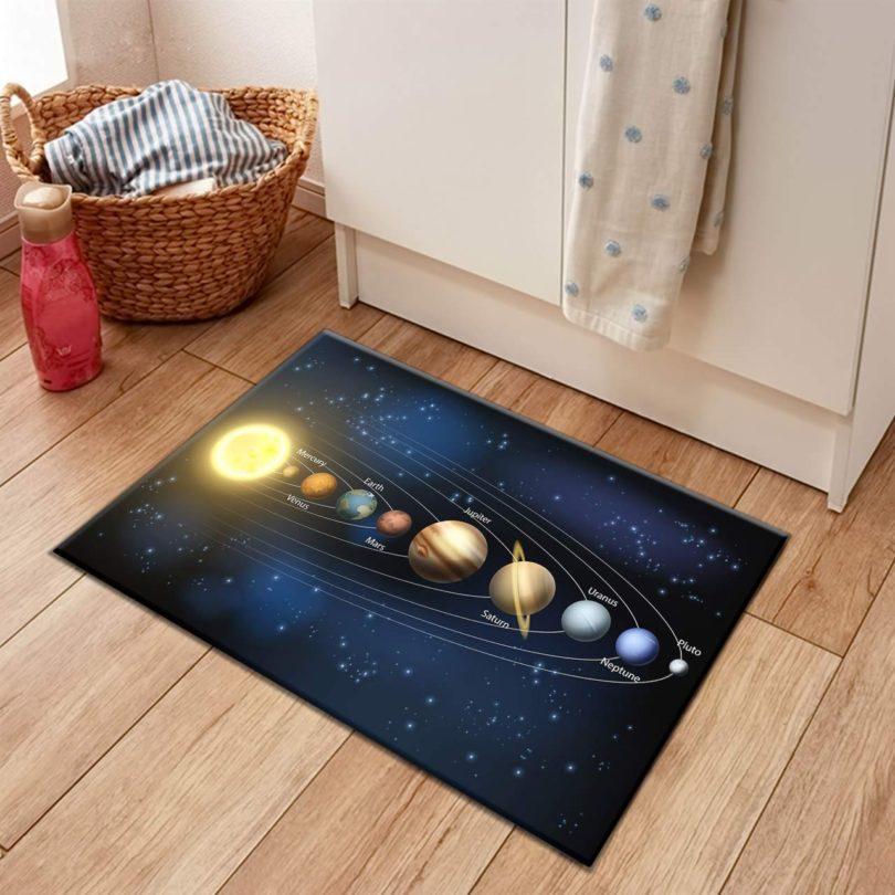 HVEST Solar System Rug Planets Revolve Arround The Sun Carpet