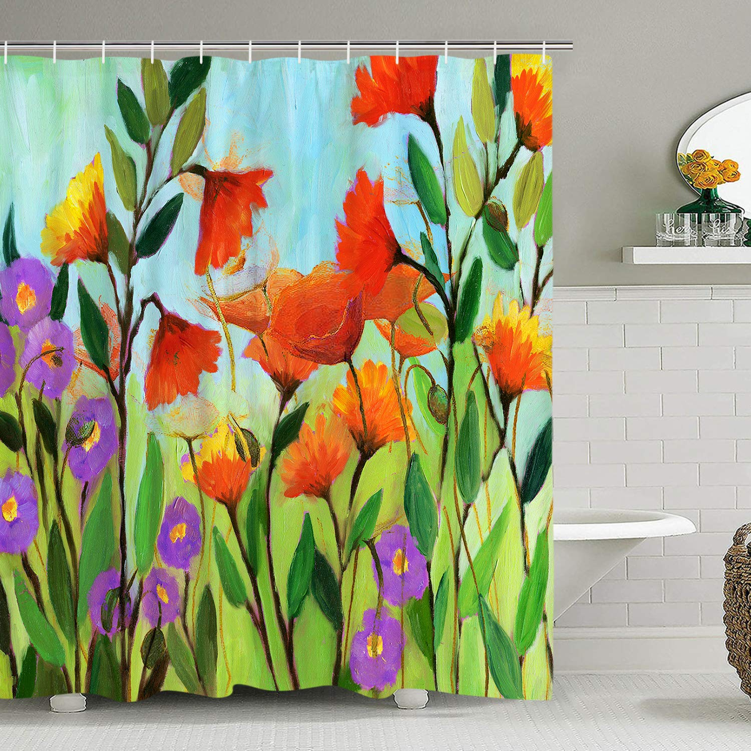 Vintage Shower Curtain Water Color Print Bathroom Curtain Abstract Flowers and Leaves