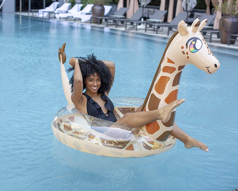 Poolcandy Giant Glitter Jumbo Giraffe Pool Float