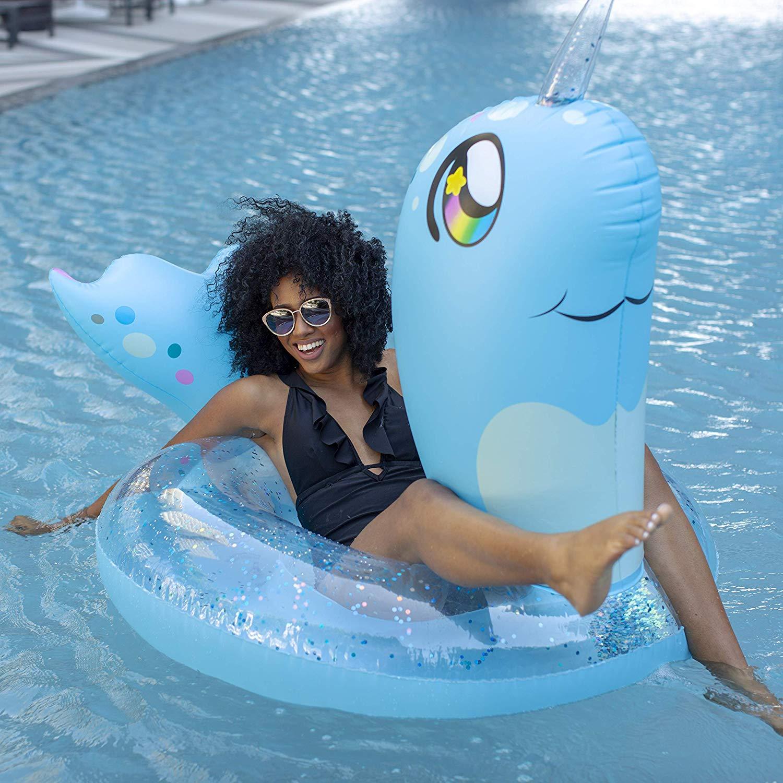 PoolCandy Jumbo Blue Glitter Narwhal Inflatable Pool Float