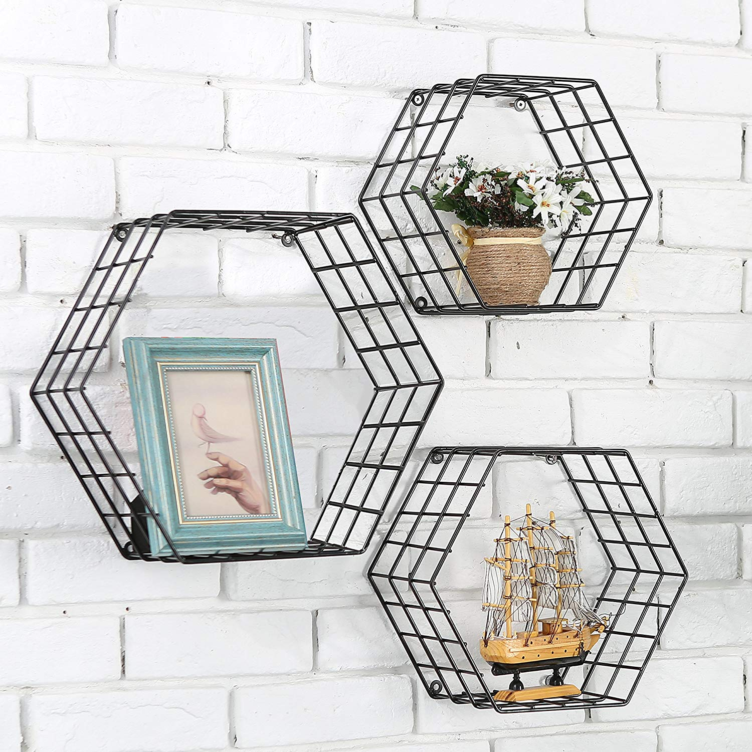 MyGift Metal Wire Hexagon Design Wall-Mounted Shelves
