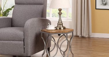 Vintage Finish Silver Metal Frame Hexagon Top Side End Table