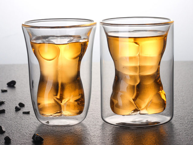 Funny Beer Glass Dual Walled Sexy Men Borosilicate