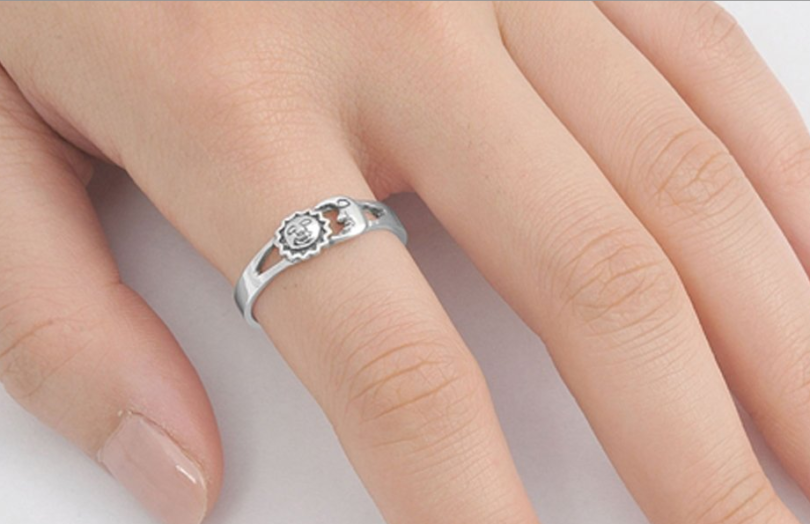 Sterling Silver Sun Moon Universe Ring