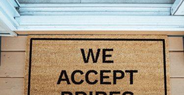 We Accept Bribes Brown Coir Doormat