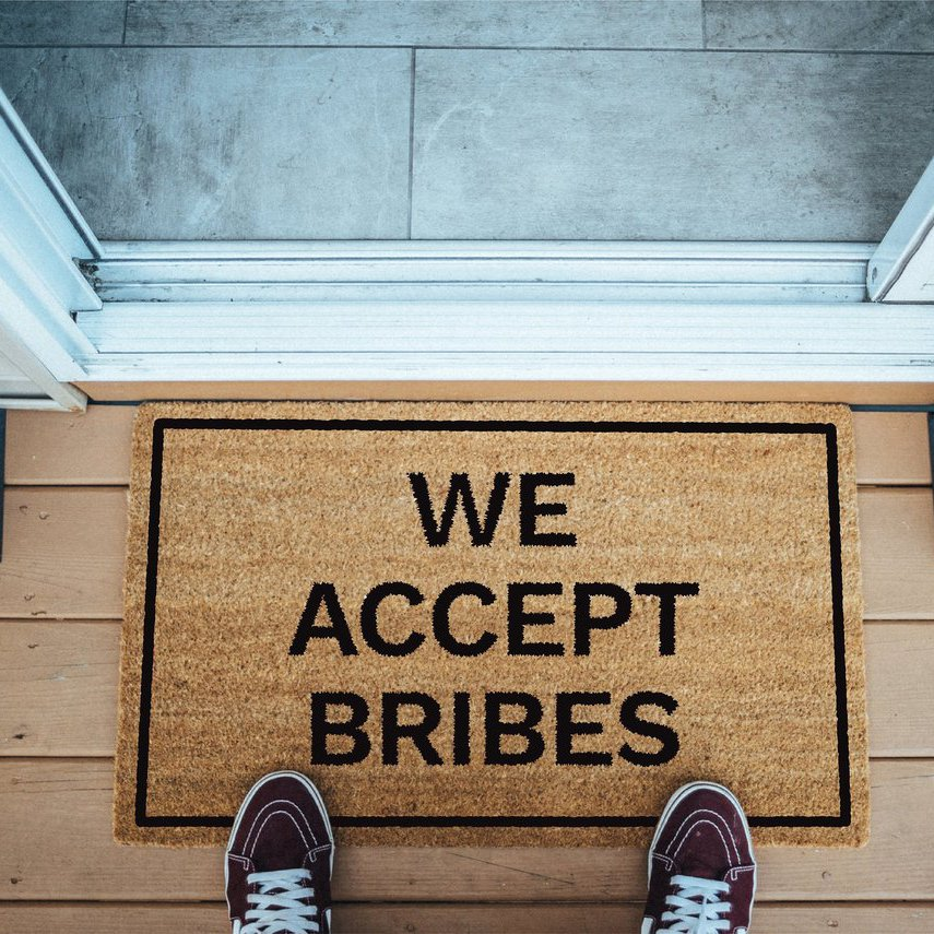 We Accept Bribes Brown Coir Doormat