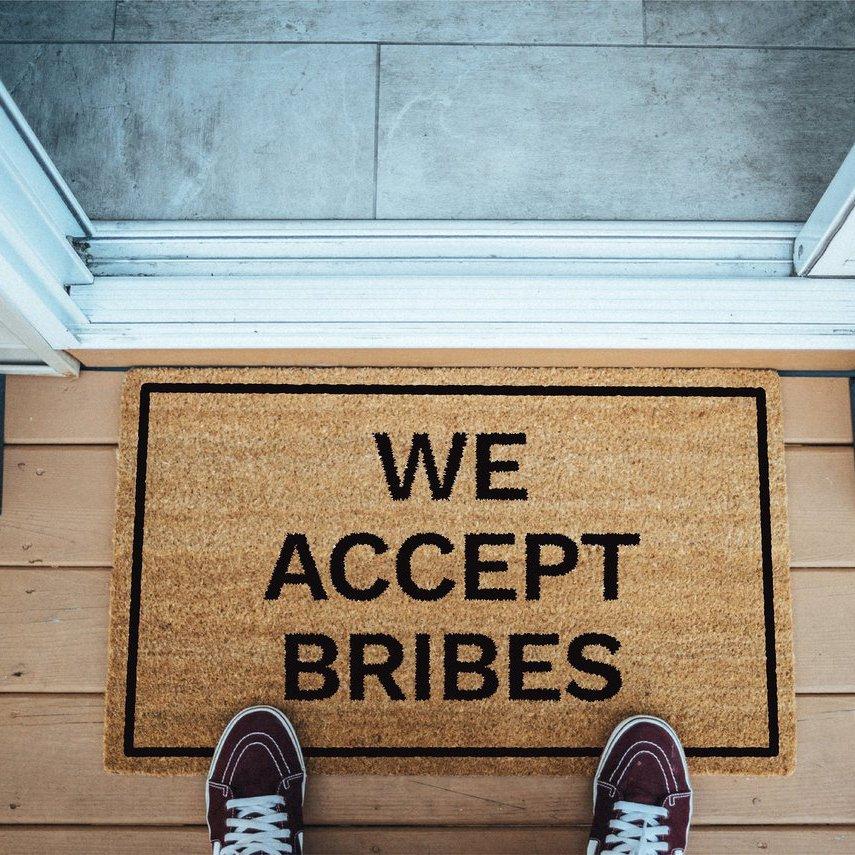 We Accept Bribes Brown Coir Doormat 187 Petagadget