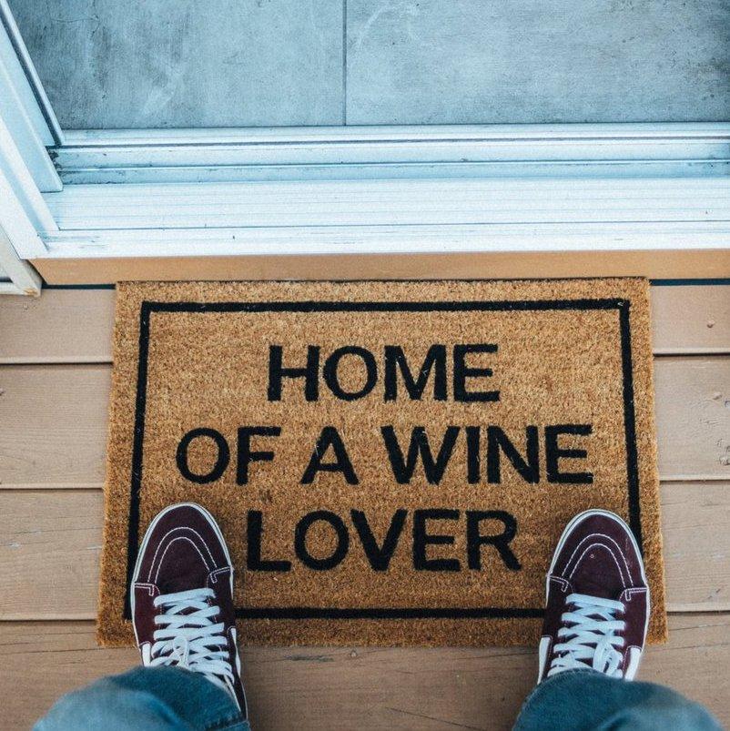 Home of a Wine Lover Brown Coir Doormat