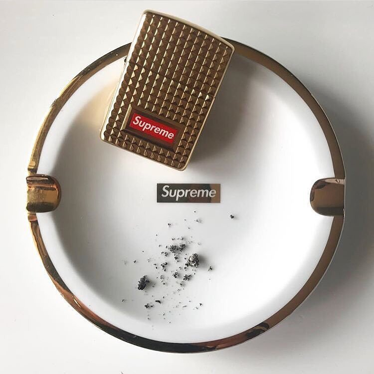 Supreme Gold Trim Ceramic Ashtray
