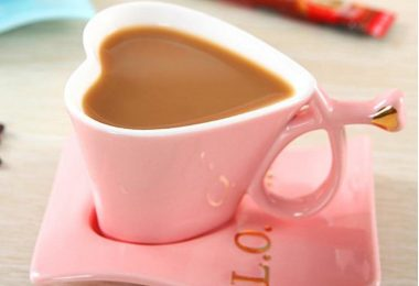 Heart Shaped Cute Ceramic Coffee Mug