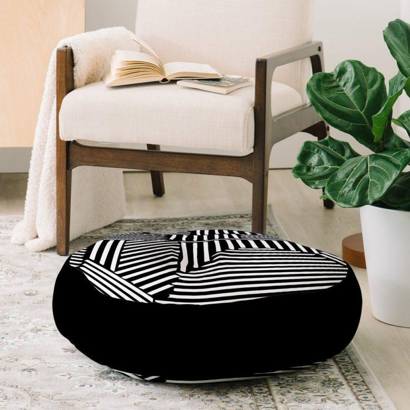 White Lines Floor Pillow