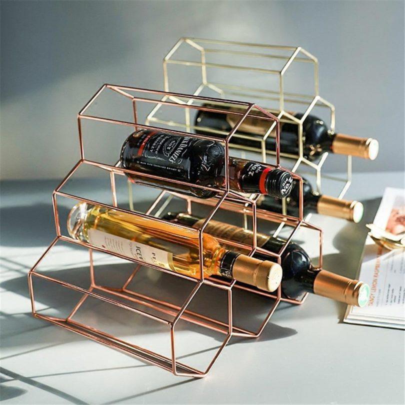 Nordic Geometric Wine Display Rack