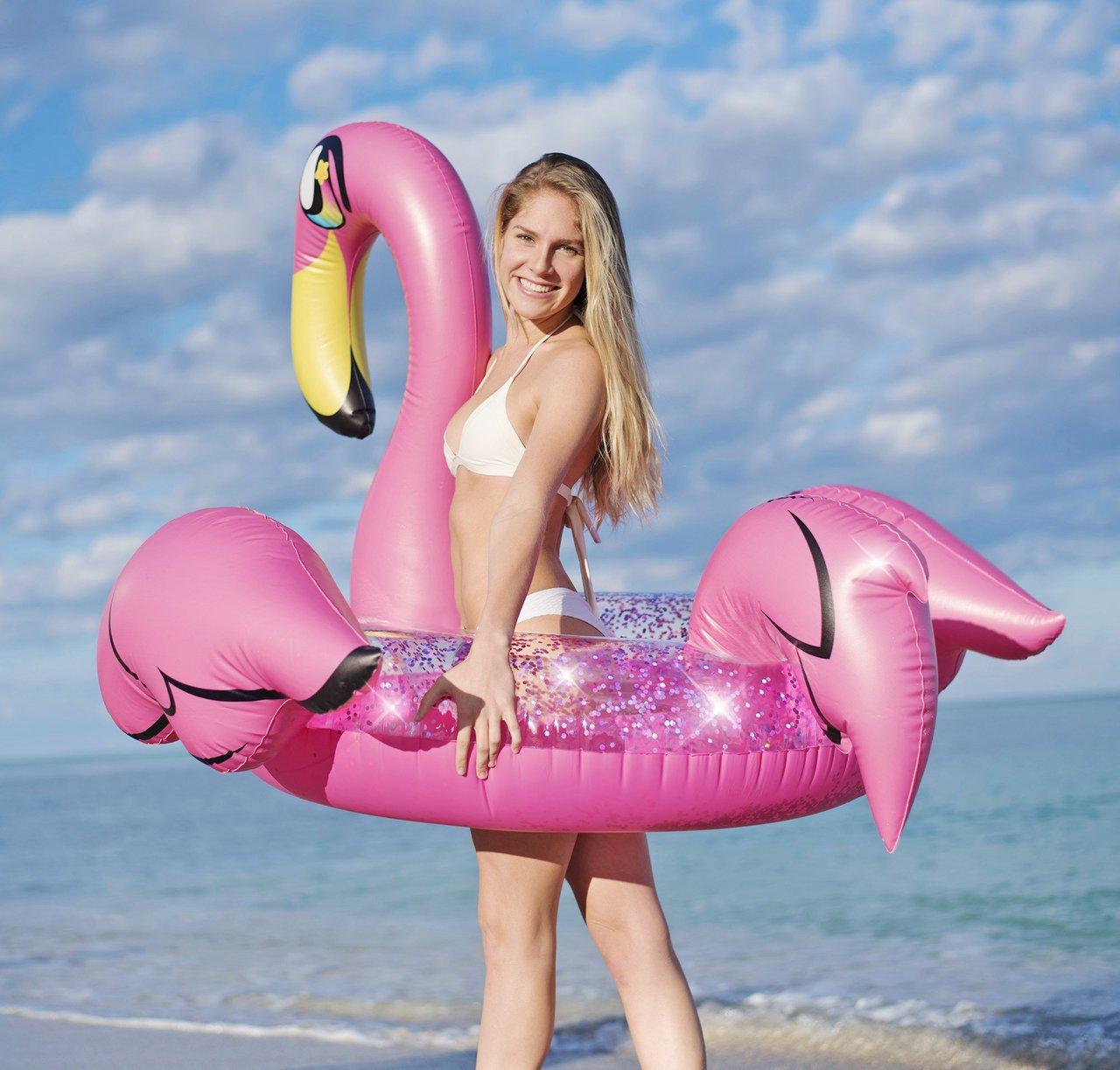Glitter 48″ Jumbo Pink Flamingo Pool Tube