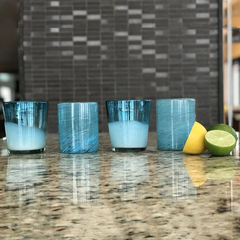 Aqua Handblown Glasses