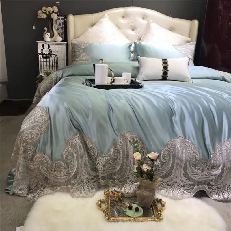 Light Blue Silk/Cotton Duvet Set