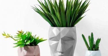 Geometric Lines People Face Vase