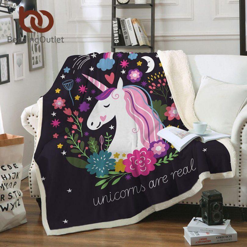 Sleepwish Unicorn Sherpa Fleece Blanket Purple Aqua Pony Throw Blanket